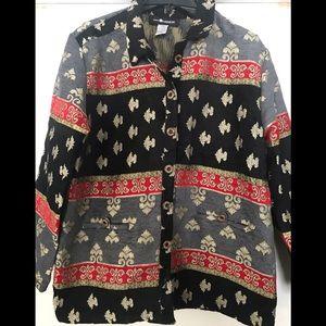 Sag Harbor Tapestry Brocade Jacket black gold 16